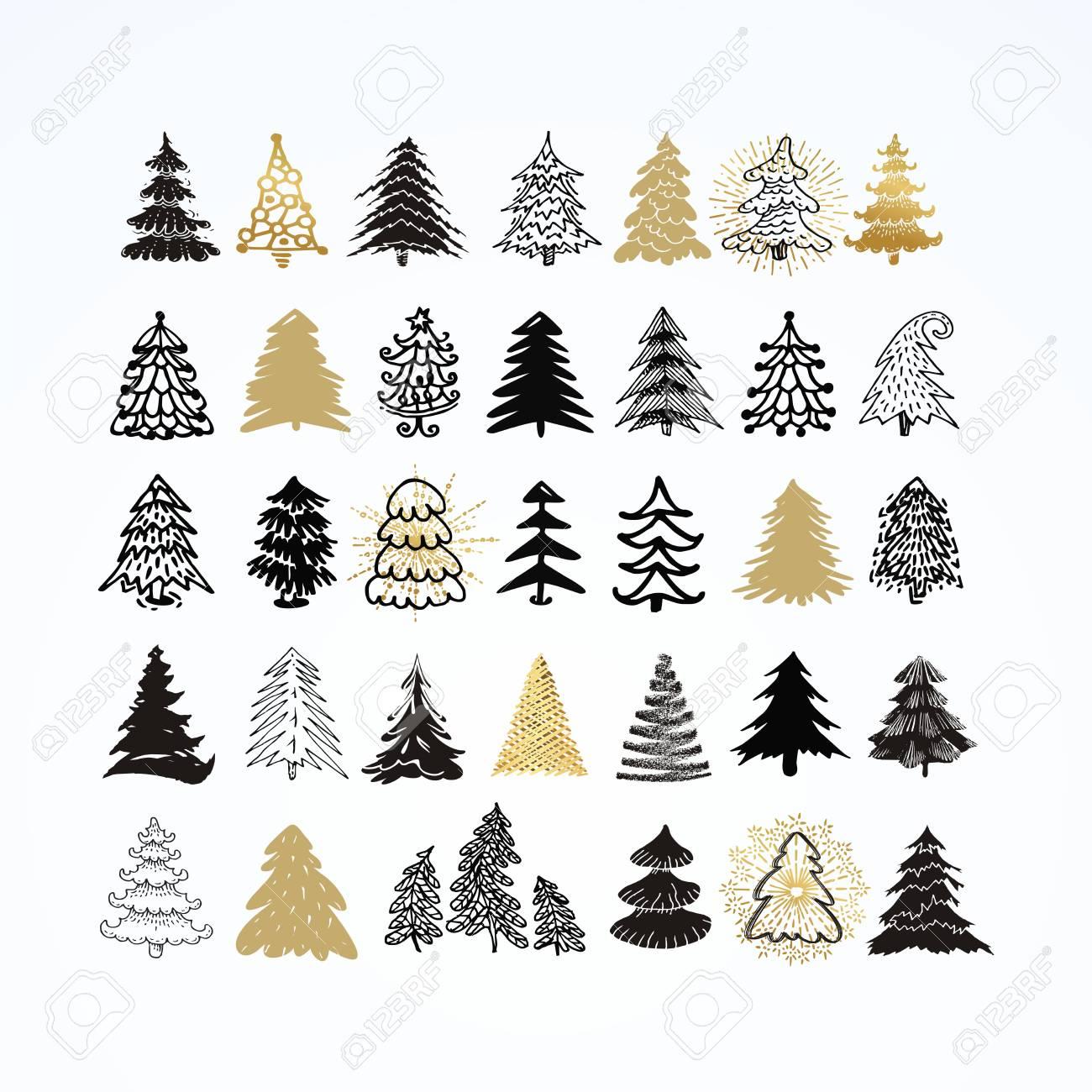 Set of different elegant christmas trees. Design elements of...