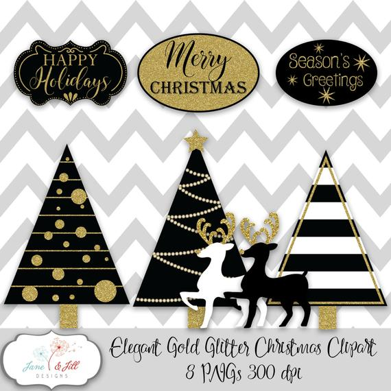 Elegant Gold Glitter Christmas Clip art 8 PNGs 300 dpi Instant Download  Card Invitation Party Decoration Clip.
