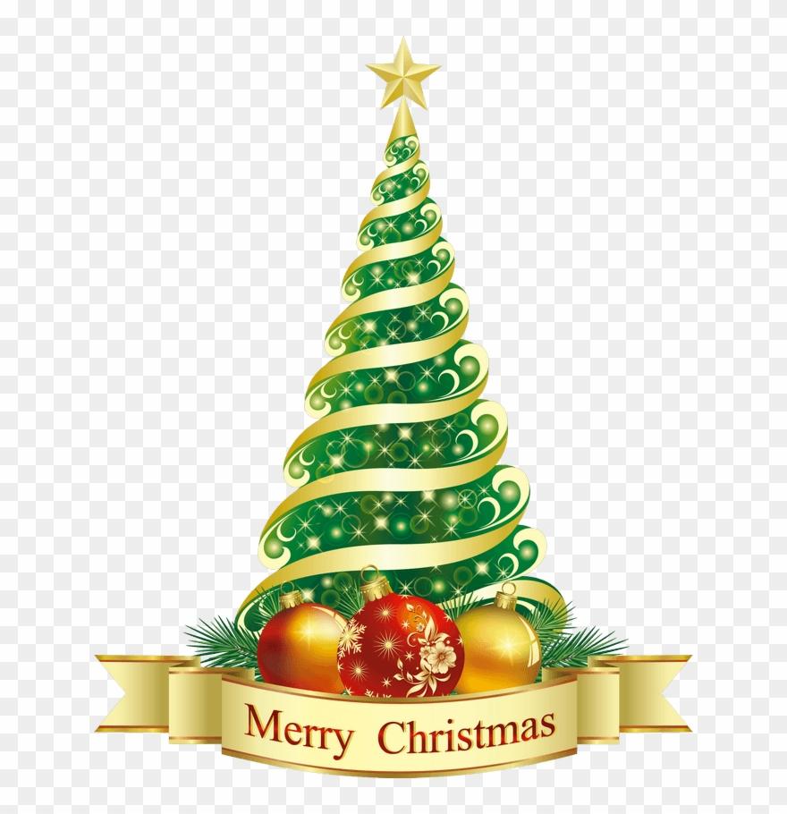 Elegant Merry Christmas Christmas Tree Clipart.
