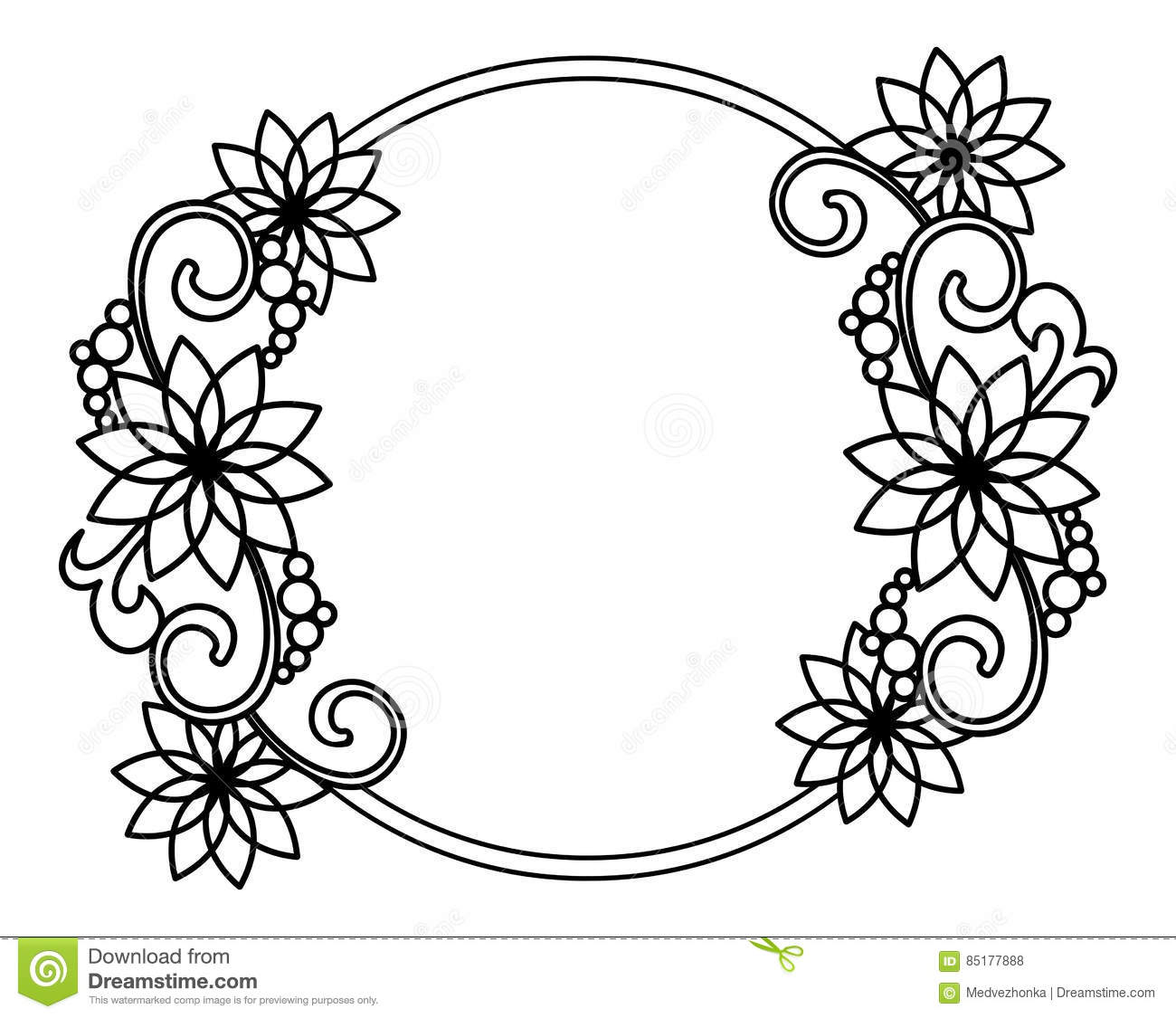 Elegant Round Frame With Contours Of Flowers. Raster Clip Art. Stock.