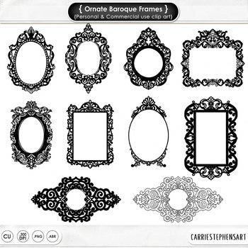 Ornate Fancy Frames, Formal Decorative Frame, Elegant, Gothic Clip Art Label.