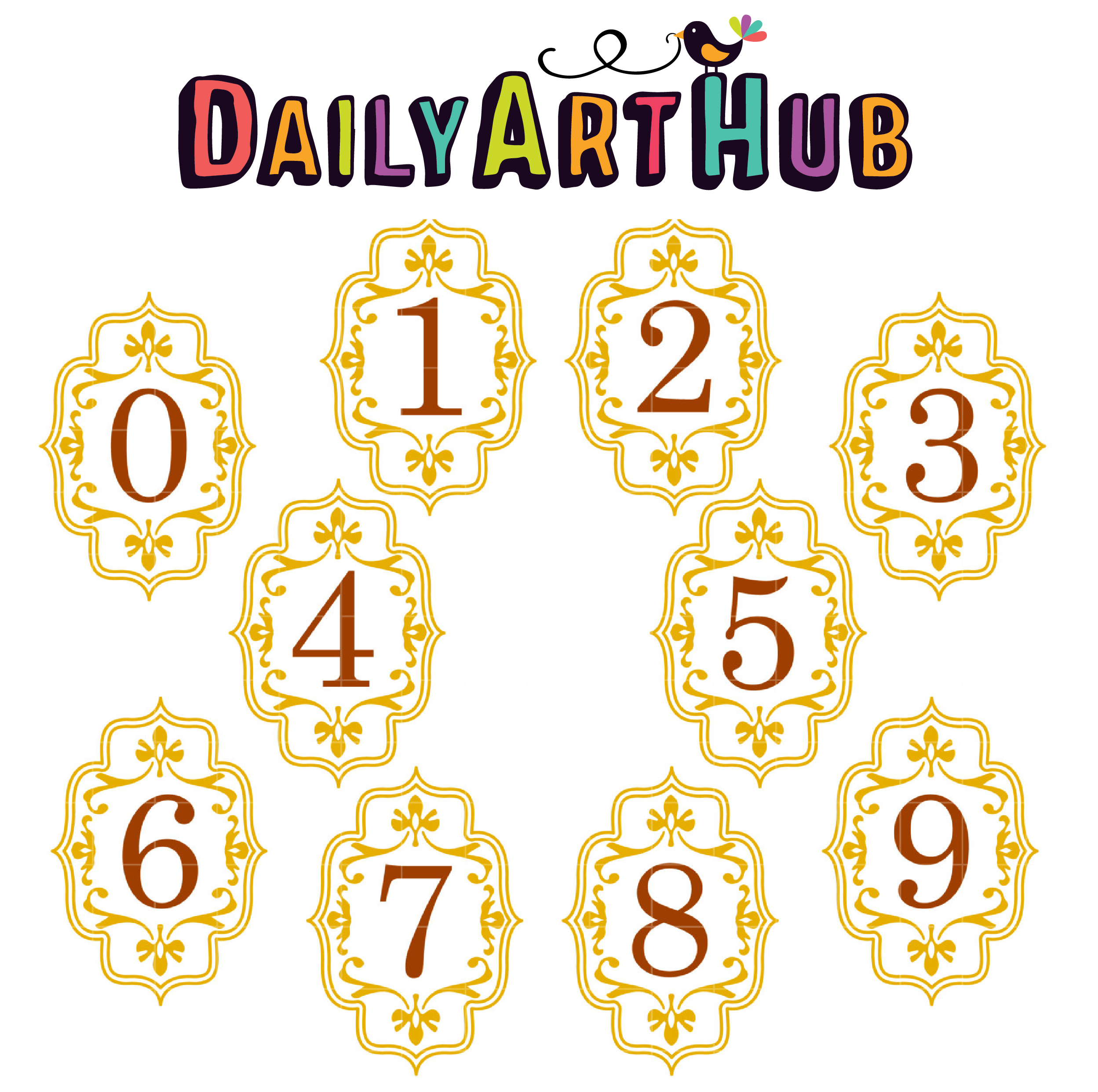 Elegant Frame Numbers Clip Art Set.