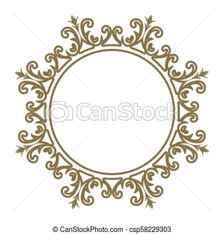 Decorative line art frames for design template. Elegant vector element for  design in Eastern style, place for text. Lace illustration for invitations.