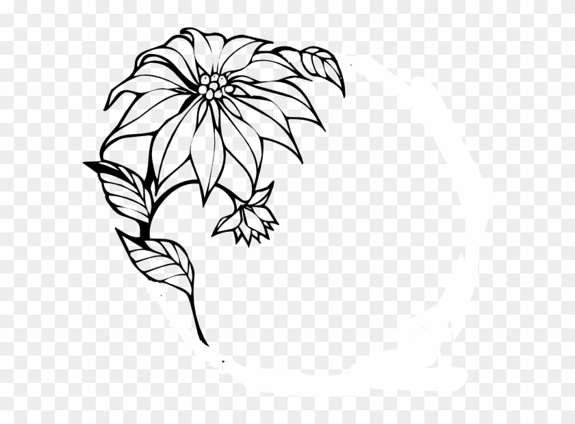 Download Free png Christmas Flower Clip Art Elegant Black And White.