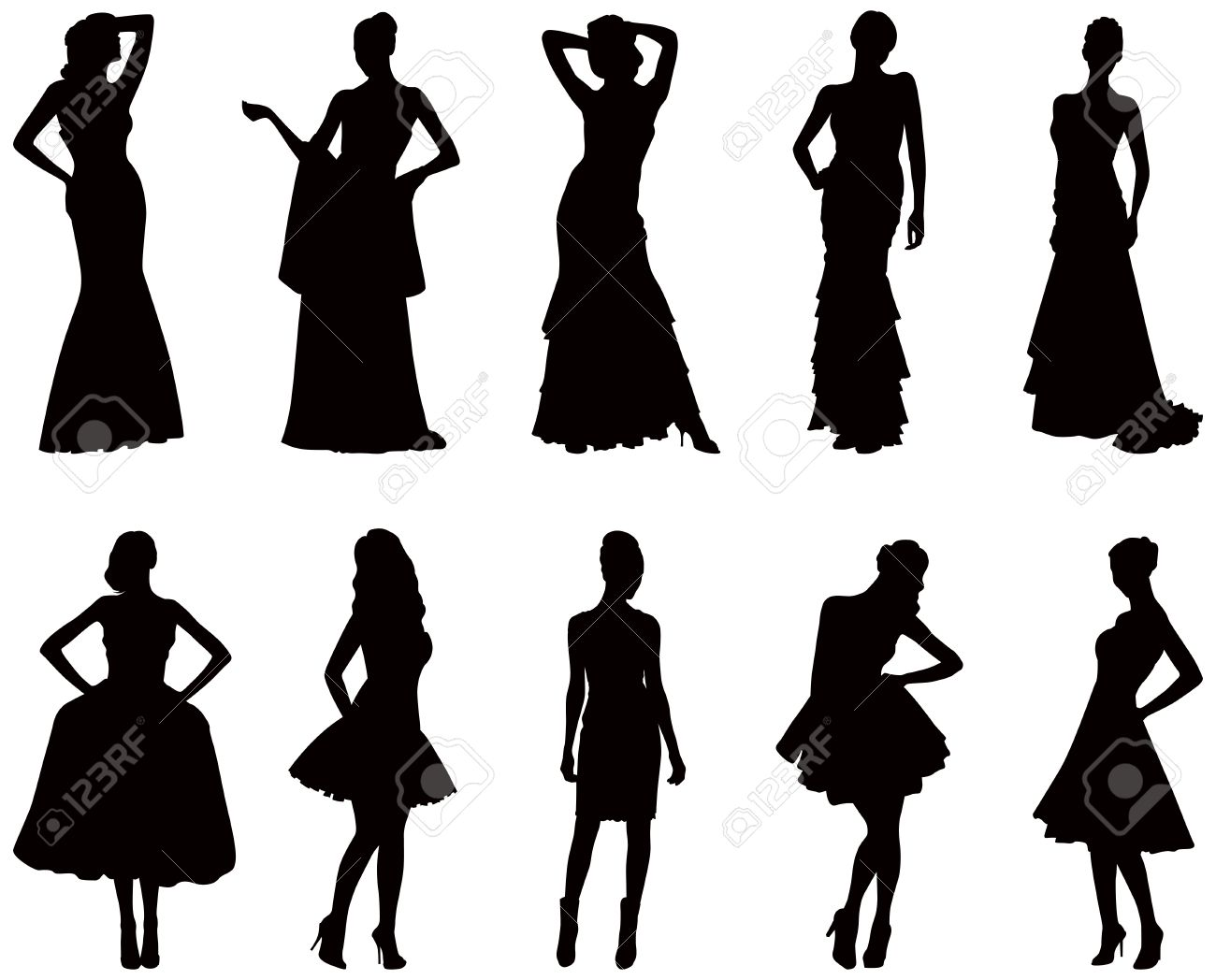 Elegant Silhouettes Of Women In Evening Dresses Royalty Free.