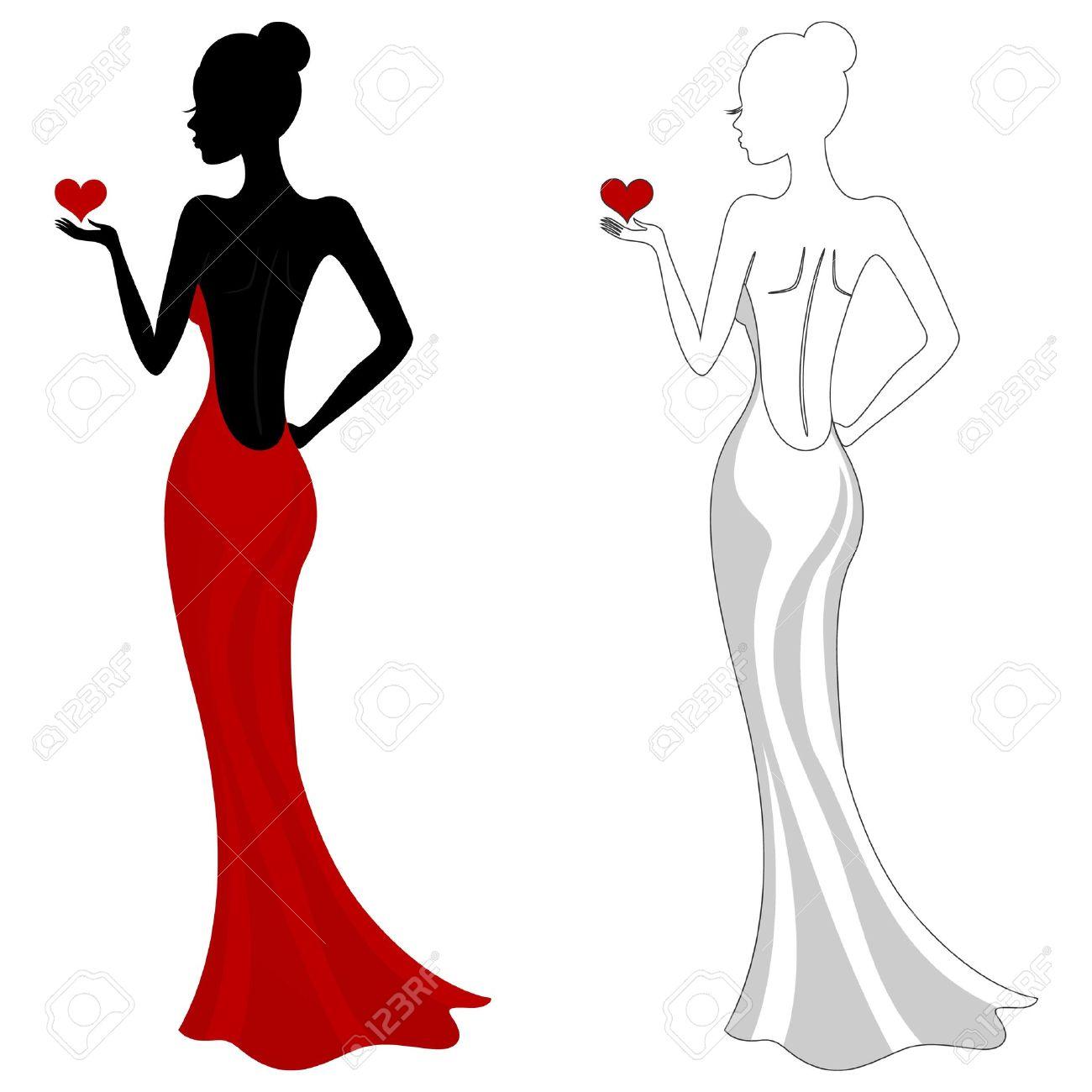 Bridesmaid Dress Silhouette Clip Art.