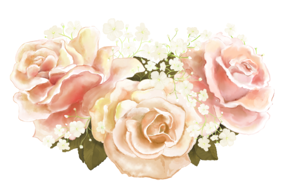 Elegant Wedding Flowers Clip Art.