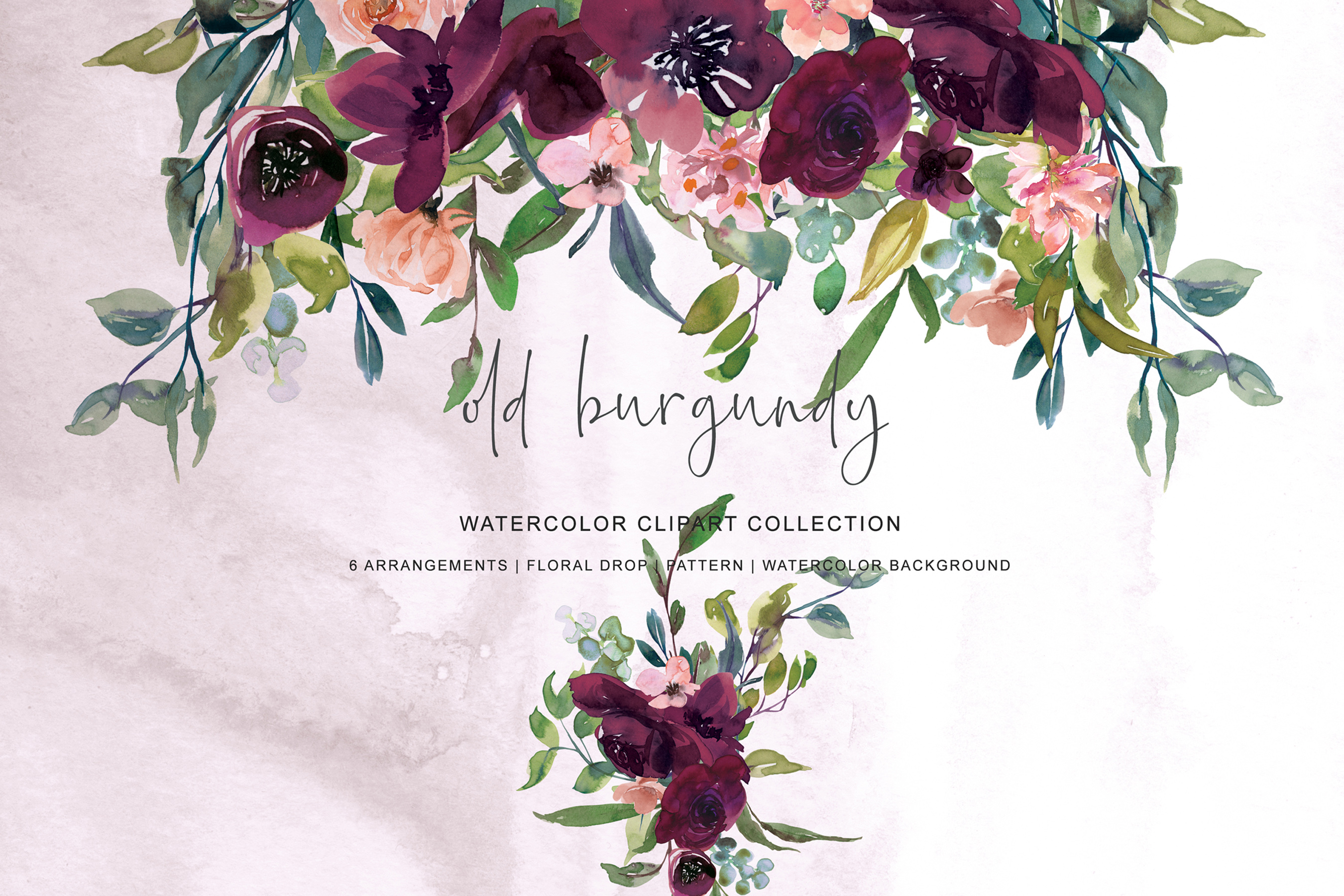 Watercolor Burgundy Elegant Flowers Arrangements Clipart.