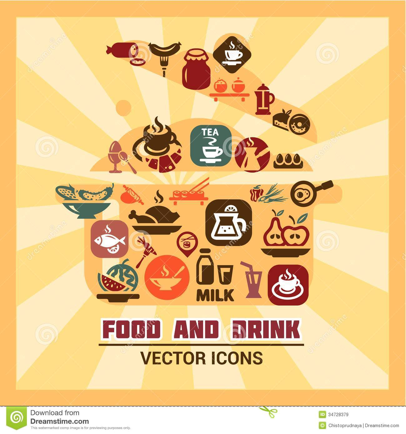 Colorful Food And Drink Icons Royalty Free Stock Images.