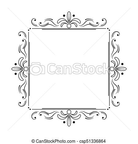 square black elegant frame with swirls and dots.