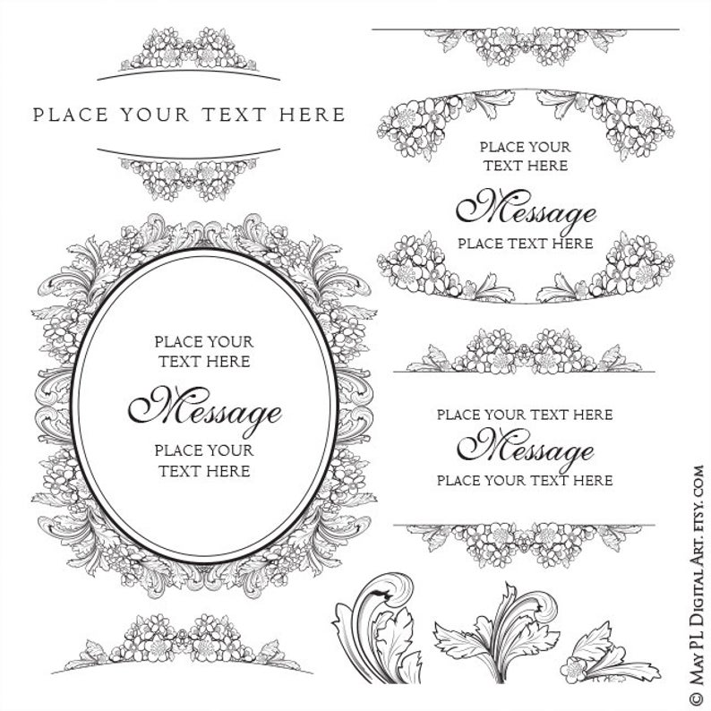 Elegant Frame Clipart, Pretty Shabby Chic Frames! Lovely Foliage and Floral  Graphics.