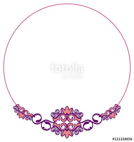 Round elegant frame. Vector clip art.\