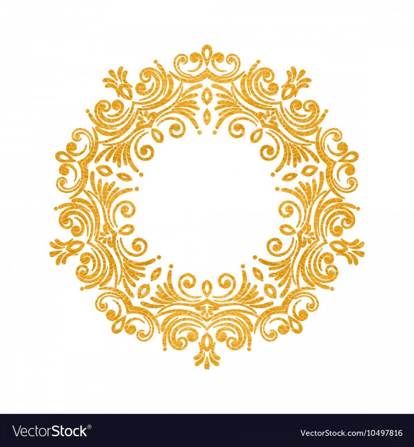 Elegant Luxury Vintage Round Gold Floral Frame Vector.