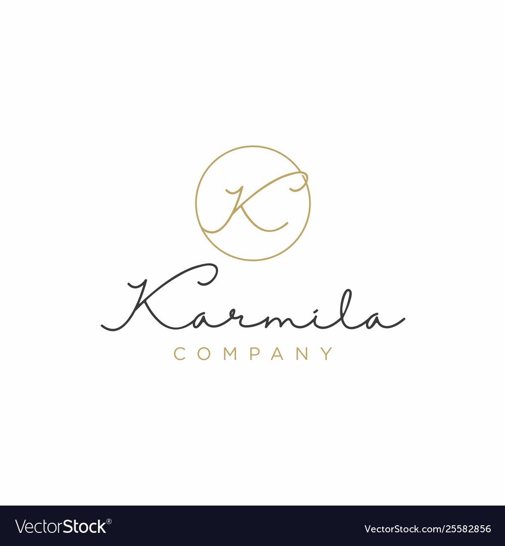 Simple elegant luxury initial letter k logo design.