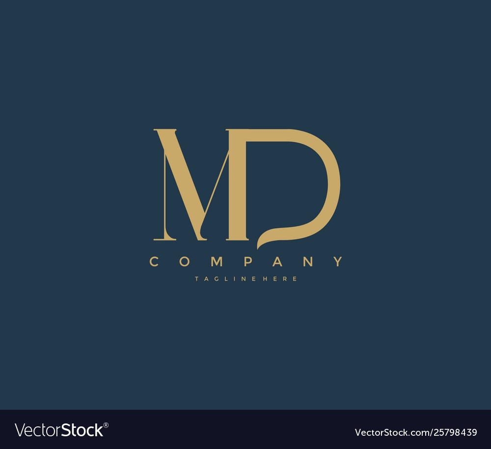 Elegant md letter linked monogram logo design.
