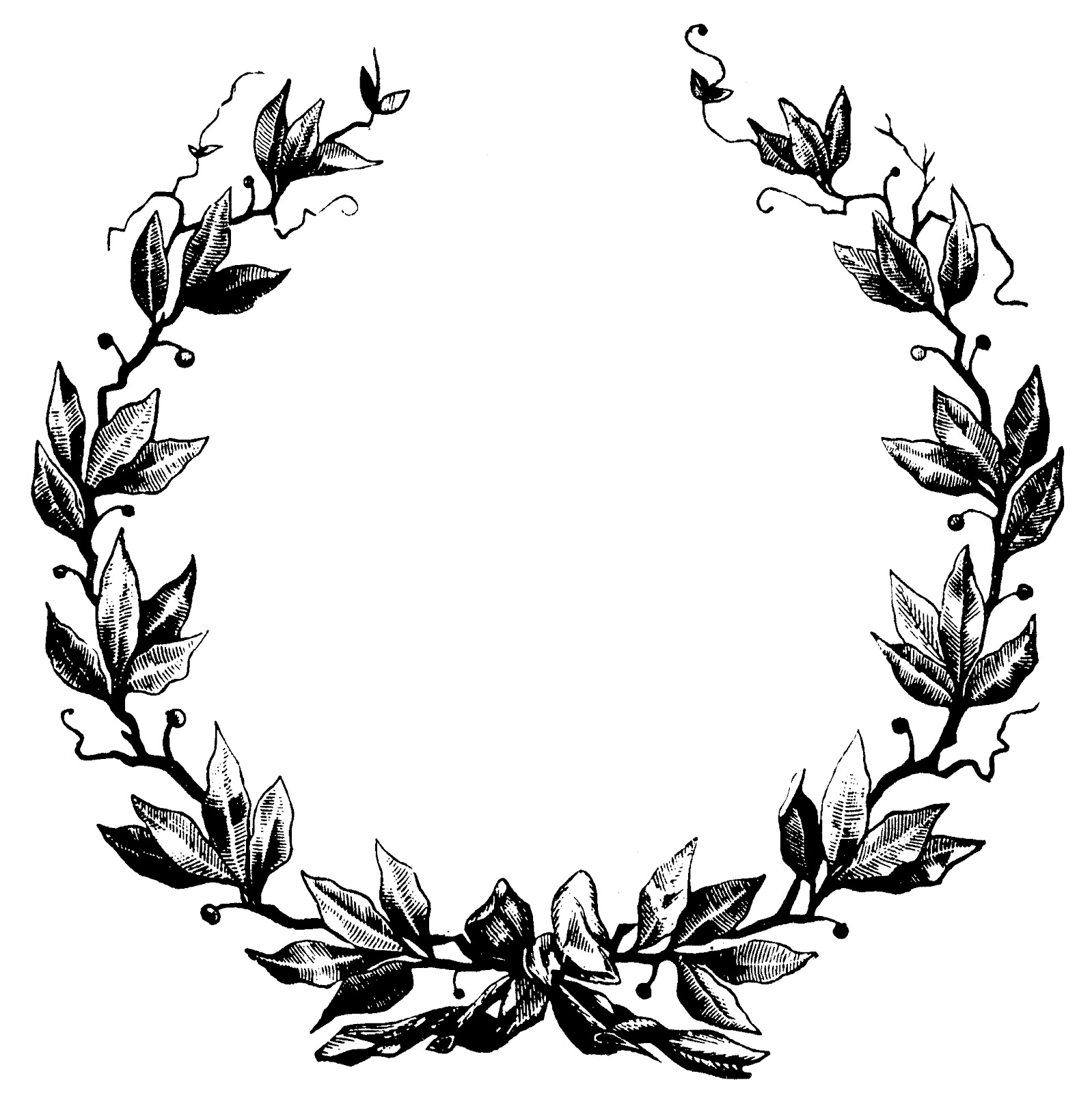 Elegant Wreath Clipart Black.