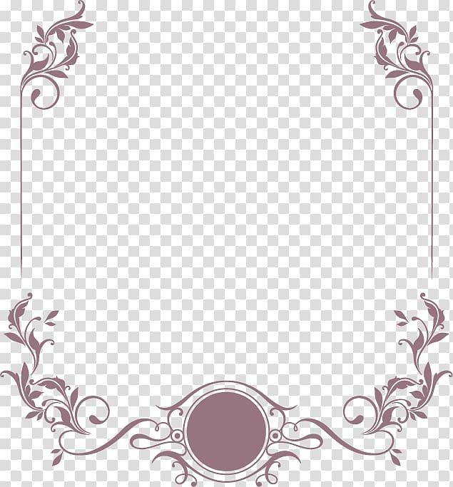 Wedding invitation , Elegant curly grass pattern border.