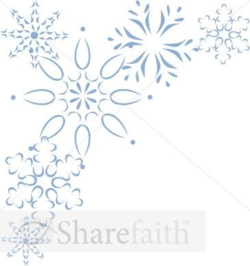 Elegant Blue Snowflake Corner.