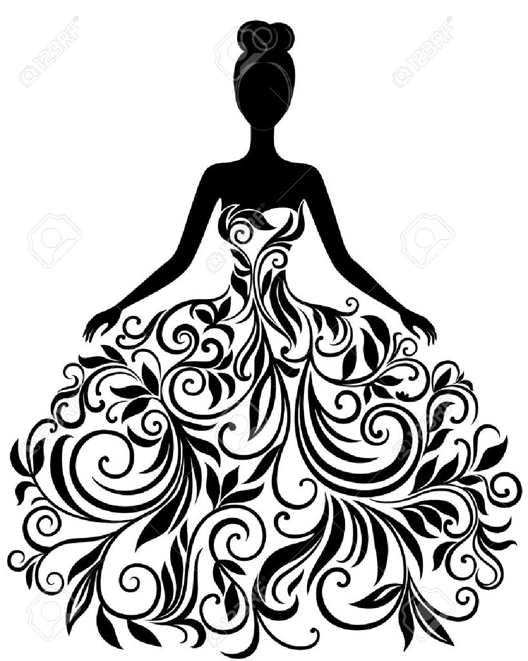 Black And White Elegant Artistic Wedding Dress Clipart & Clip Art.