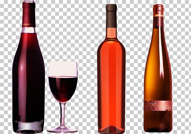 Red Wine White wine Champagne Bottle, Elegant red wine glass.
