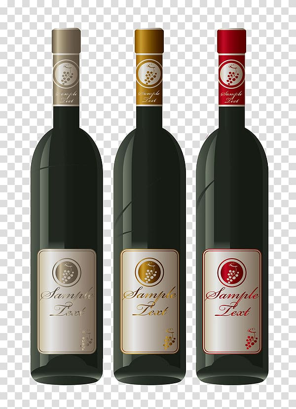 Red Wine Bottle Wine label, 3 elegant texture Red Wine.