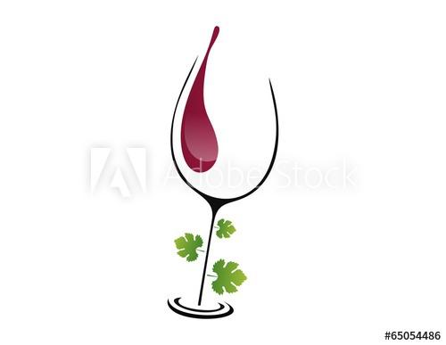logo wine glass leaf elegant concept menu drink glamour.