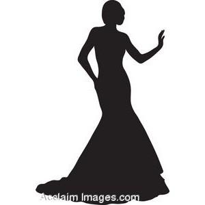 Elegant Woman Silhouette Clip Art (61 ).