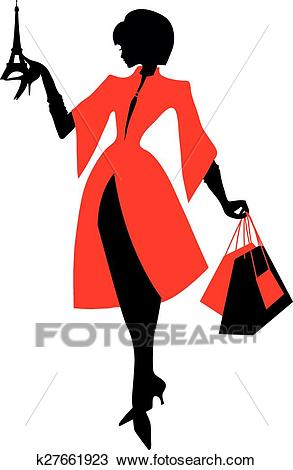 Elegant silhouette. Beautiful woman holding the Eiffel Tower. Clipart.