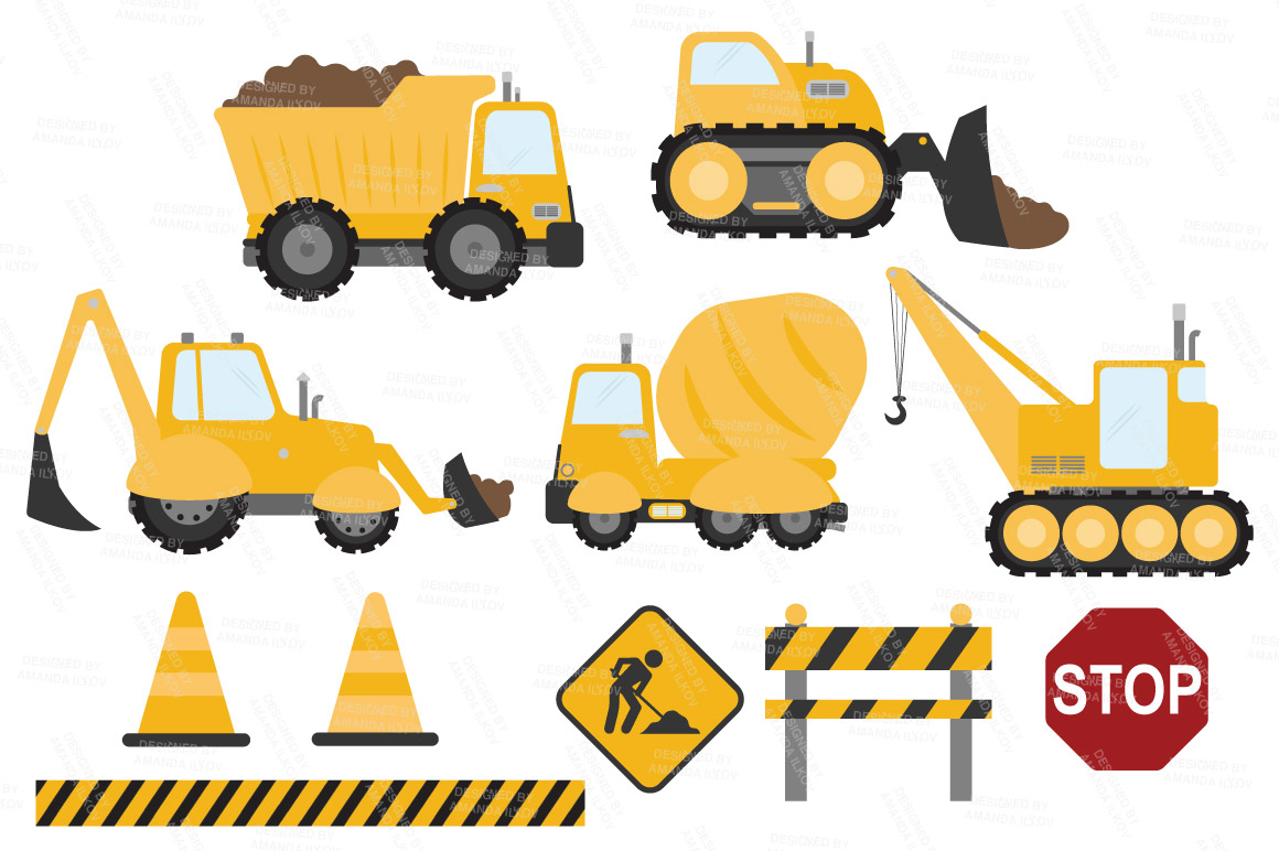 Sunshine Vector Construction Trucks Clipart by Amanda Ilkov.