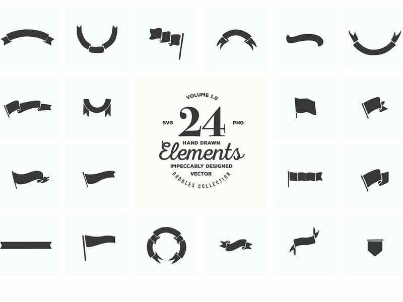 24 Hand Drawn Logo Elements SVG PNG by Logo Templates on.