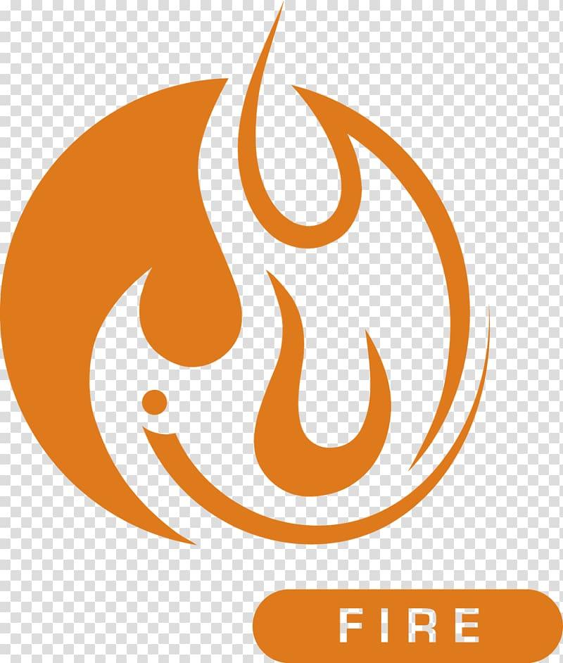 Orange fire logo, Fire Symbol Classical element Elemental.