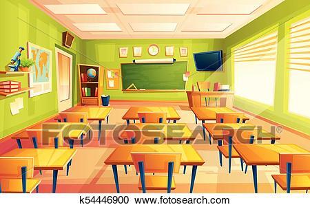 Vector cartoon empty school, college classroom Clipart.