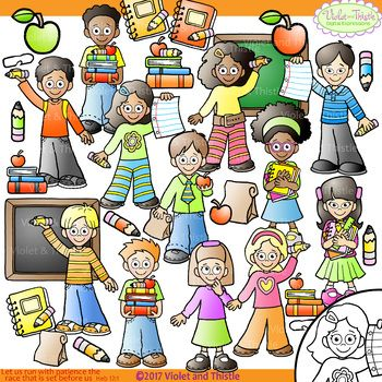 Back to School Kids Clipart Chalkboard Clip Art.
