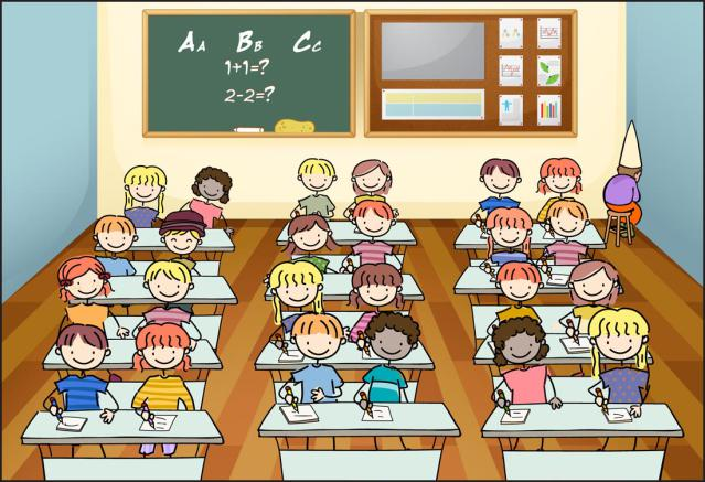 Elementary Students In Classroom Clipart.