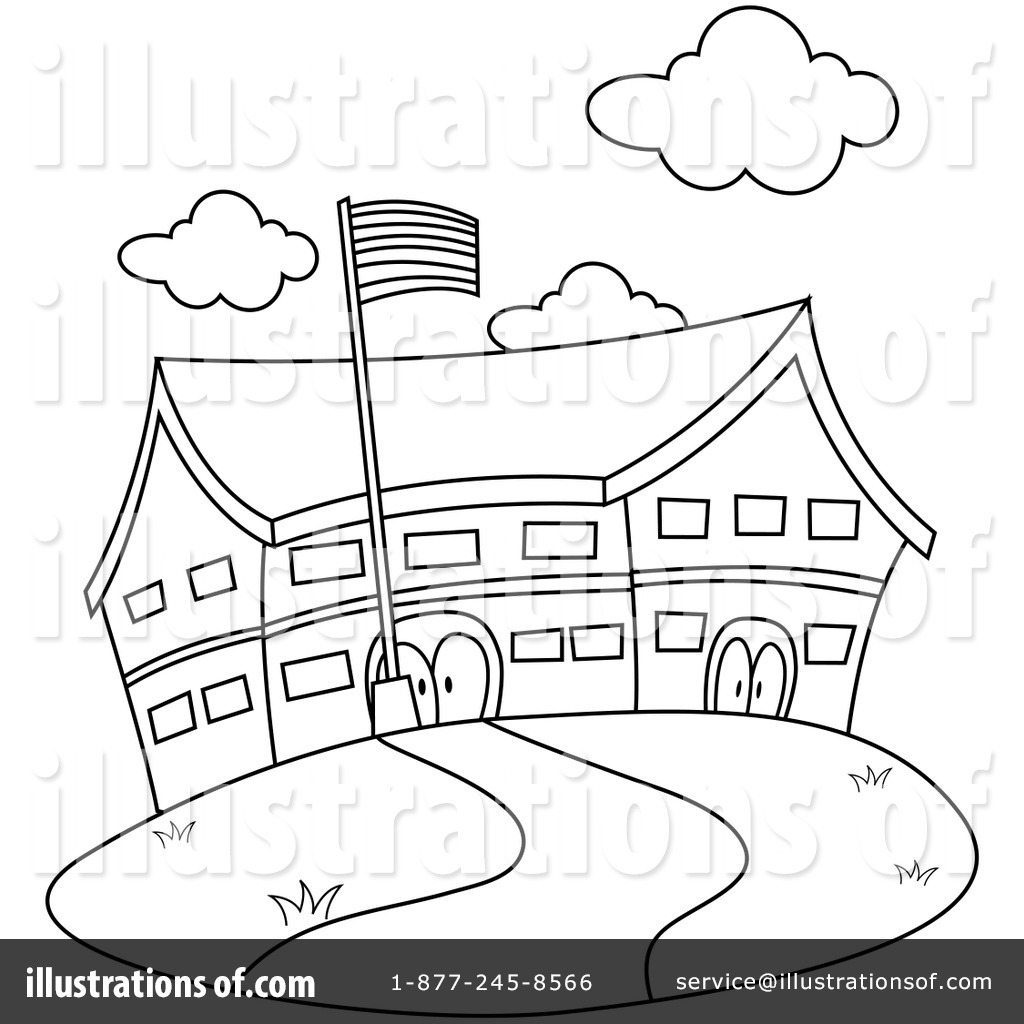 Elementary School Building Clipart Black And White.