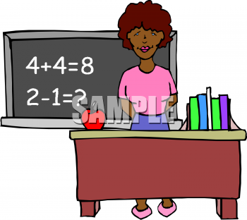 Clipart Picture of an African American School Teacher at Her Desk.