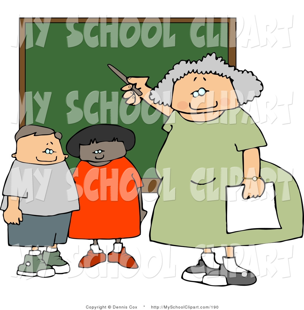 Clip Art of a Female Elementary School Teacher Giving a Lesson to.