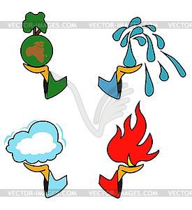 4 elements clipart.