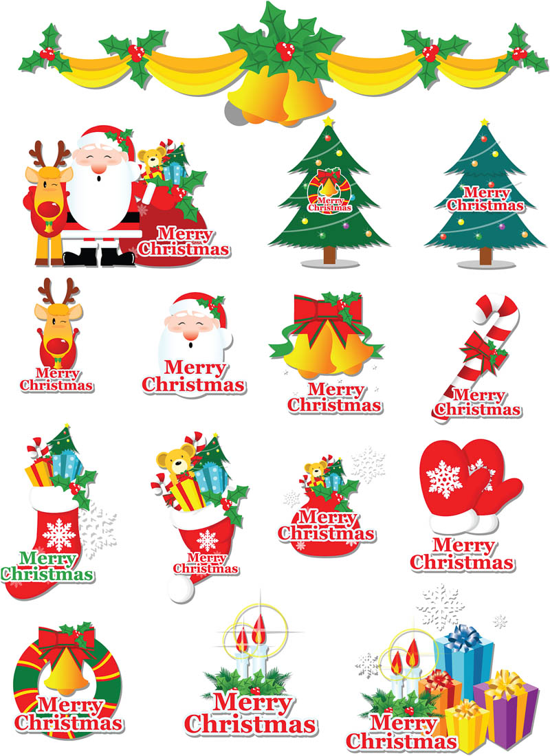 Christmas elements vector clipart.