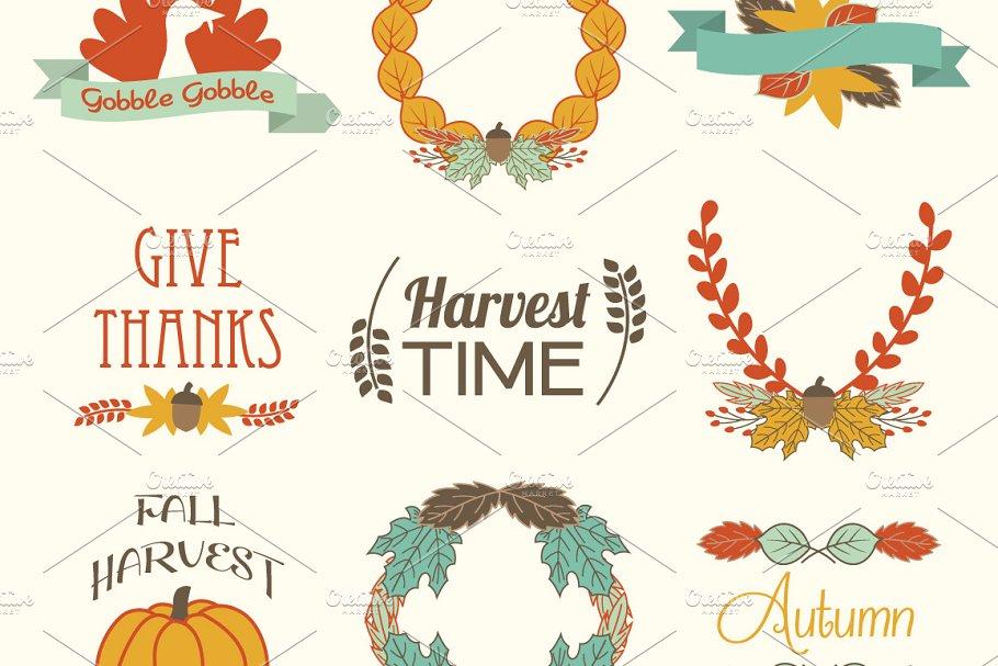 Fall Autumn Elements Vector Clip Art.