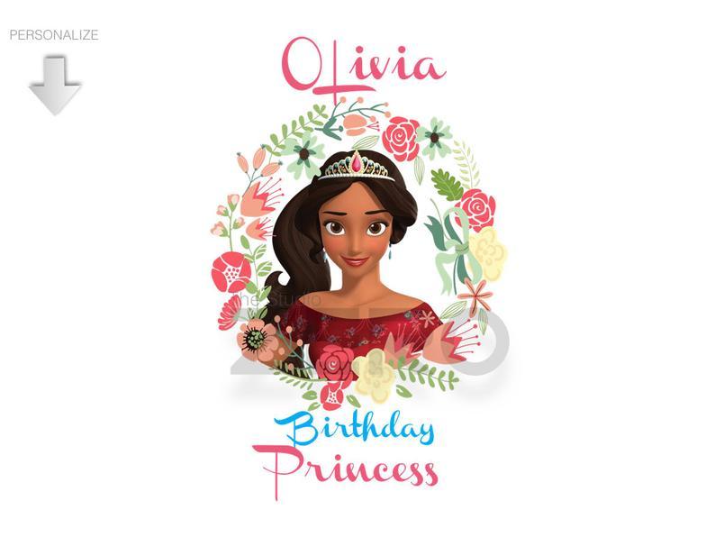 Elena of Avalor Clipart, Personalize Bday Shirt, Princess Digital Clipart,  Disney Iron On Transfer, Clip Art, Disney Shirt, Elena Clipart.