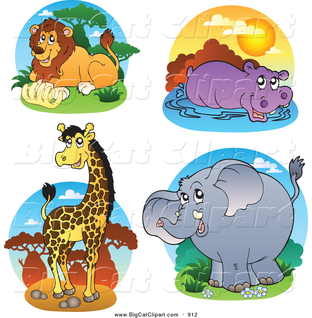 lion and elephant clipart #18