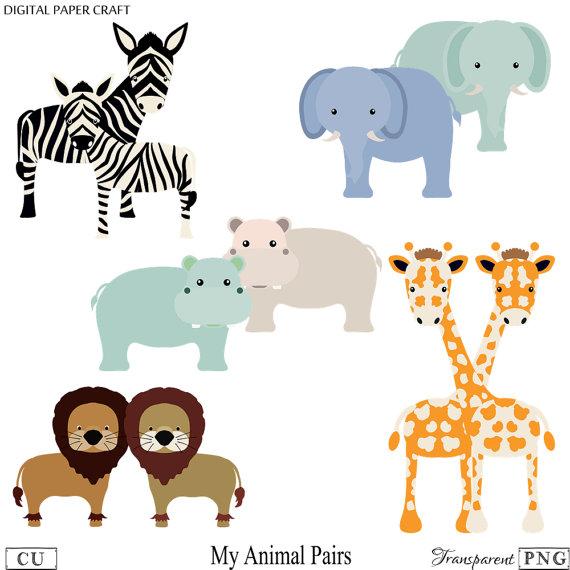Animal Clipart, Elephant Clipart, Hippo Clipart, Giraffe Clipart.