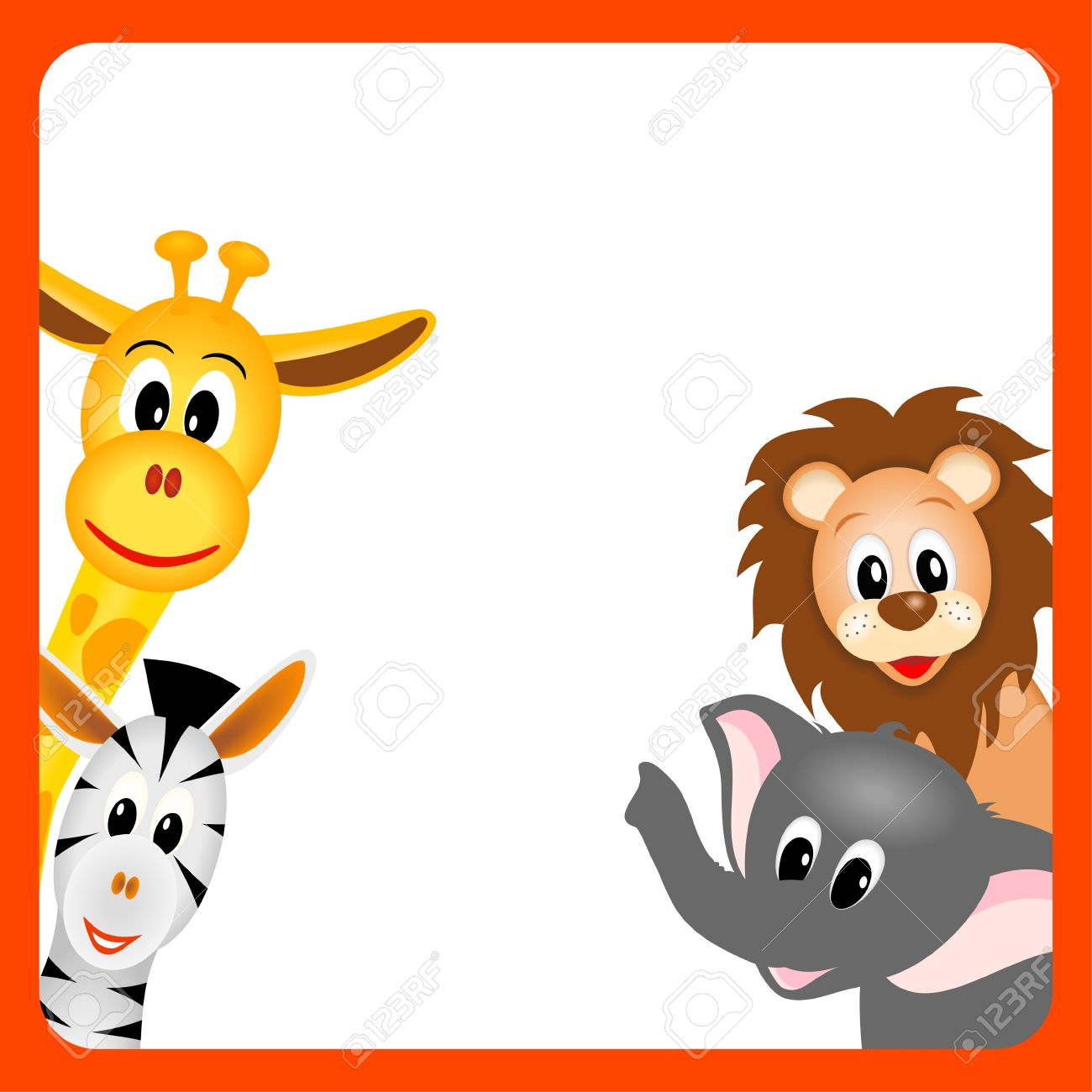 Little Giraffe, Elephant, Zebra And Lion On White Background.