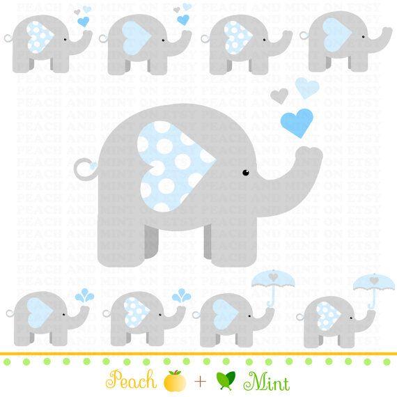 Boy Baby Elephant Clip Art Digital clipart by PeachAndMint, $4.50.