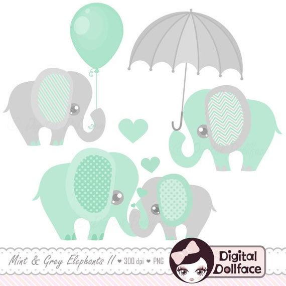 Baby Elephant Decor Clipart / Printable Elephant Baby Shower Clip.