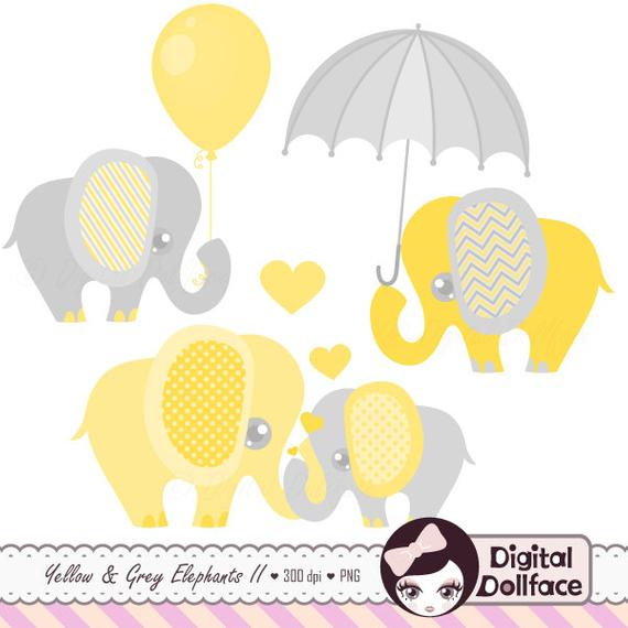 Elephant Baby Shower Clipart, Baby and Mommy, Elephant with Balloon /  Umbrella Clip Art.