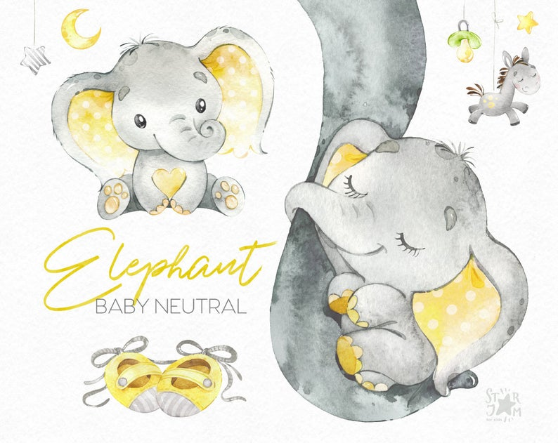 Elephant Baby neutral. Watercolor little animal clipart, africa, child  yellow booties bib family sleep greeting kid, baby.