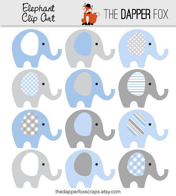 Blue and Grey Elephant Clip Art.
