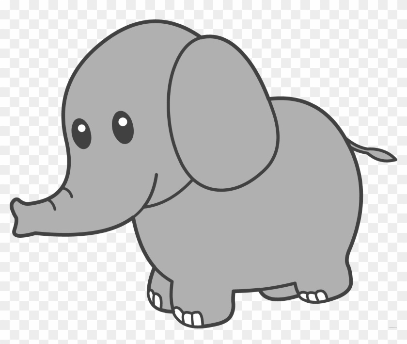 Cute Elephant Animal Free Black White Clipart Images.
